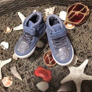 Denim blue with silver glitter high tops